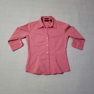 NY & Co City Stretch Pink 3/4 Sleeve Shirt S: S
